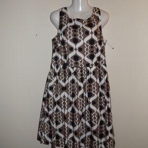 Boden Brown Midi Dress 12 Sleeveless